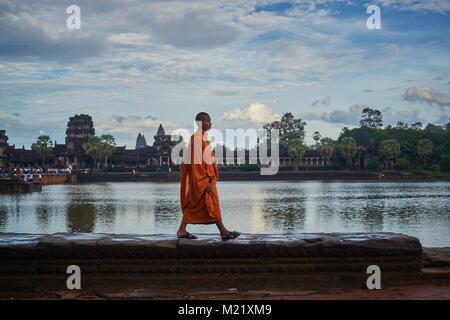 Cambodian Monk, Angkor, Cambodia - Stock Photo