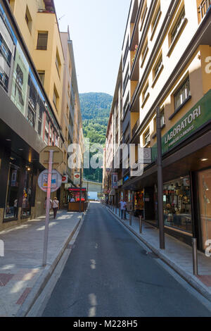 Andorra la Vella, Andorra - August 14, 2017: Andorra is the country with the smallest trade taxes. It is a tourist - Stock Photo