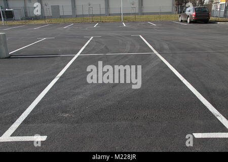 Parking lot. Empty Parking spaces. Car spaces for parking. - Stock Photo