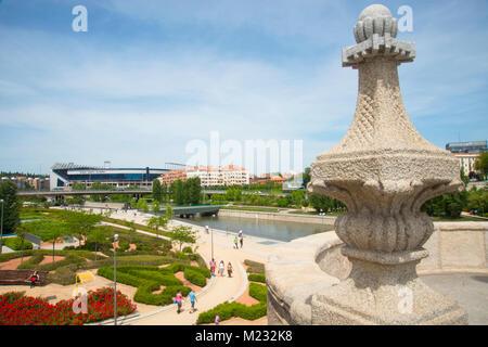 Madrid Rio park and river Manzanares, view from Toledo bridge. Madrid, Spain. - Stock Photo