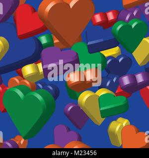 Rainbow Colors Hearts Seamless Pattern - Stock Photo