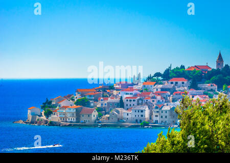 Scenic view at marble blue landscape in Primosten town, Croatia. - Stock Photo