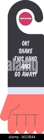 Funny door hanger design. Stylized hand with bizarre text. Just cut it out and have fun. - Stock Photo