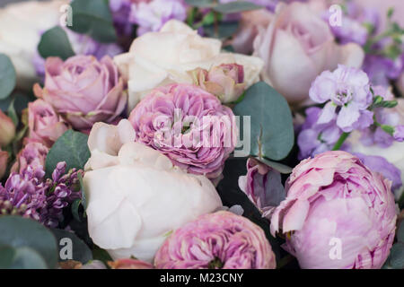 Lilac, peonies, roses floral background - Stock Photo