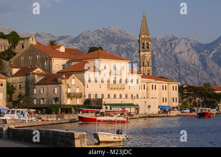 Town of Perast in the Bay of Kotor, Montenegro - Stock Photo