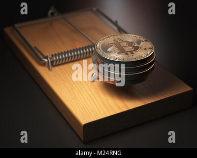 Bitcoin BTC coins in the mousetrap. Financial invetsment risk concept. 3d illustration - Stock Photo