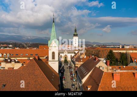 Old town skyline with Church of St. Mark, Zagreb, Croatia - Stock Photo
