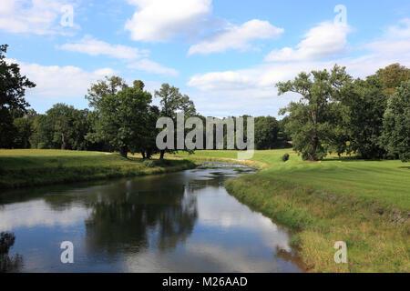 Park landscape with river, tree and forest, Bad Muskau, Landkreis Görlitz, Saxony, Germany, Parklandschaft mit Fluß, - Stock Photo