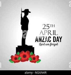 anzac day lest we forget card memory celebration patriotism - Stock Photo
