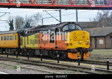 Colas Rail Freight Class 37 with overhead line inspection train at Cambridge, England, UK - Stock Photo