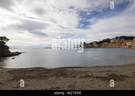 a beautiful view of the 'Bay of Silence', La Baia del silenzio, Sestri Levante, Genoa, Italy during the winter season - Stock Photo