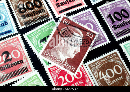 Inflation stamps, German Empire - Stock Photo