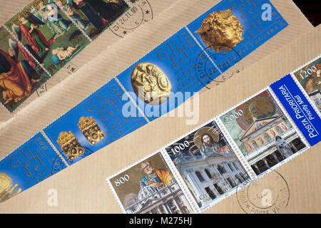 Stamps from the Vatican on a letter, Stamped, Vatican, Italy, Europe, Gestempelte Briefmarken aus dem Vatikan, - Stock Photo