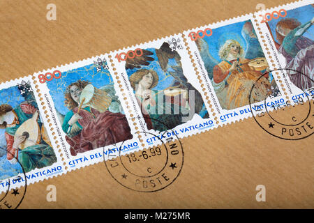 Stamps from the Vatican on a letter, Stamped, Vatican, Italy, Europe, Gestempelte Briefmarken aus dem Vatikan, musizierende - Stock Photo
