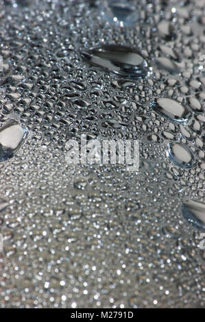 Natural silvery water dew drops texture macro background, vertical textured wet vapour bubble splashes pattern copy - Stock Photo
