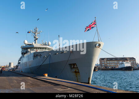 CONSTANTA, Romania, Feb 1. 2018. HMS Enterprise, Standing NATO Mine Countermeasure Group Two (SNMCMG2) flagship, - Stock Photo
