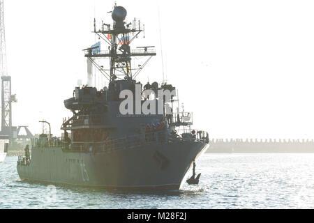 CONSTANTA, Romania, Feb 1. 2018. Standing NATO Mine Countermeasures Group Two (SNMCMG2) ship ROS Lt Lupu Dinescu - Stock Photo