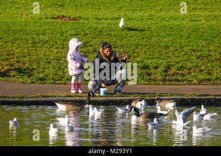 Mother and child feeding wildlife birds at Abington Park Northampton UK - Stock Photo