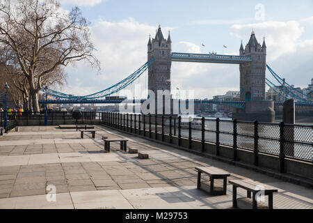 London, UK. 6th Feb, 2018. A view of Tower Bridge from the riverside walk outside the Tower of London. Credit: Mark - Stock Photo