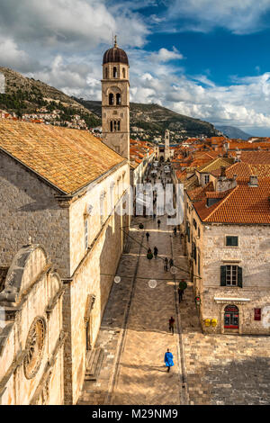 Stradun pedestrian street, Dubrovnik, Croatia - Stock Photo