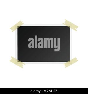Photo frame with adhesive tape, isolated on white background. For your photography and picture. Vector illustration - Stock Photo
