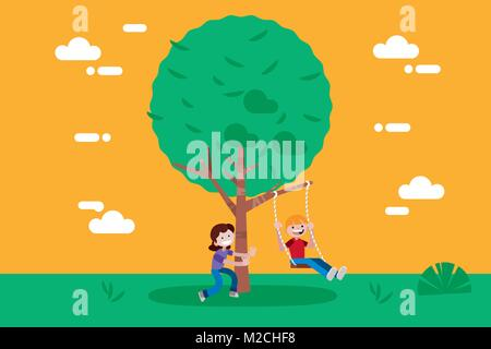 Children (boy and girl) swinging on a Swing Tree. Vector illustration in a flat minimal style. - Stock Photo
