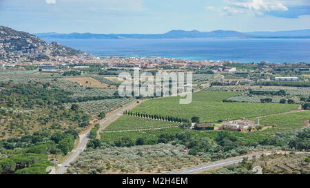 Spain Costa Brava view over vineyards fields and olive groves with the Mediterranean sea and the city of Roses, - Stock Photo
