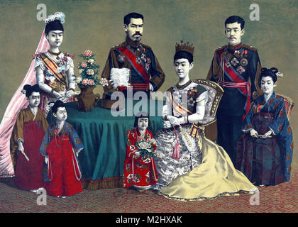 Meiji, Emperor of Japan and the Imperial Family, 1900 - Stock Photo