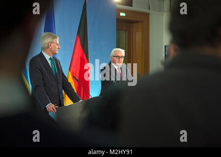 Bilateral meeting with Swedish Foreign Minister Carl Bildt and German Foreign Minister Frank-Walter Steinmeier in - Stock Photo