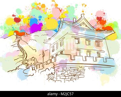 Colorful Great Wall Sketch. Hand Drawn Vector Illustration, Paint Splatter Color Isolated on White Background. Business - Stock Photo