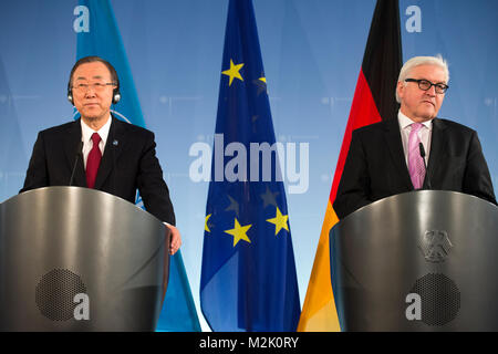 German Foreign Minister Frank-Walter Steinmeier (SPD) received the Secretary-General of the United Nations, Ban - Stock Photo