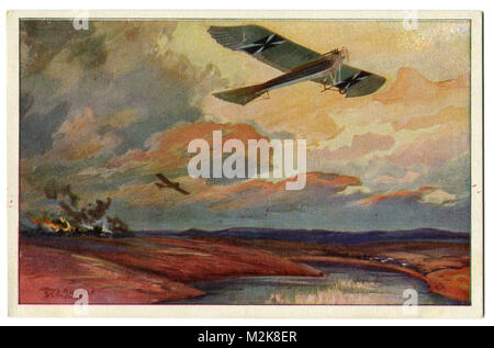 Old German postcard military airplane Taube on reconnaissance flight at the Mazury lakes. First world war of 1914 - Stock Photo