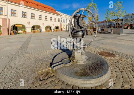 Water pump at Marketplace, Kielce, Lesser Poland Voivodeship, Poland. Europe. - Stock Photo