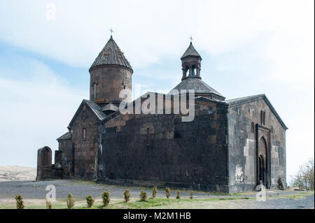 The Saghmosavank s a 13th-century Armenian monastic complex located in the village of Saghmosavan in the Aragatsotn - Stock Photo