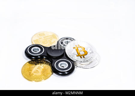 Abstract photo of cryptocyrrency. Some cryptocurrency coins. Isolated on white background. - Stock Photo