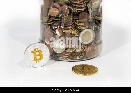 Abstract photo of cryptocyrrency. Some cryptocurrency coins on table. Isolated on white background. - Stock Photo