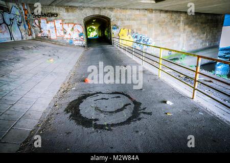 Germany, Hamburg, Veddel, underpass, smiley - Stock Photo