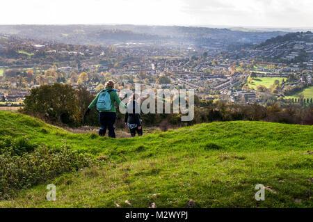 Walkers on Little Solsbury Hill, Batheaston, Bath, Somerset, England,UK - Stock Photo
