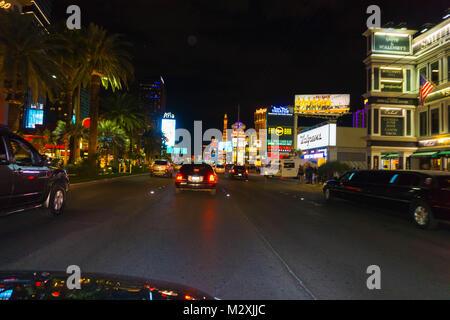 Las Vegas, United States of America - May 07, 2016: Night scene along The Strip in Las Vegas at Nevada - Stock Photo