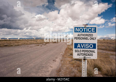 Authorized Personnel Only Sign with Very Large Array (VLA) Radio Telescopes in the background at the NRAO Site in - Stock Photo
