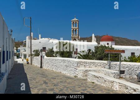 Panagia Tourliani monastery in Town of Ano Mera, island of Mykonos, Cyclades, Greece - Stock Photo