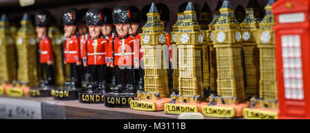 A selection of London ornaments for sale in a London store. - Stock Photo