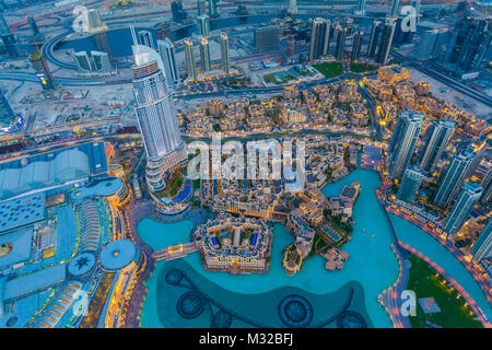Aerial view of Downtown Dubai at the sunset - Stock Photo