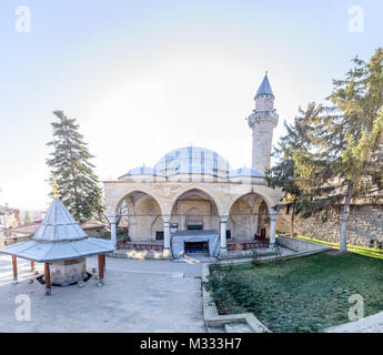 View of  Yunus Pasha Mosque, built in 1517 by Ottoman architect Mimar Sinan, lies at the center of Tarakli in Sakarya - Stock Photo