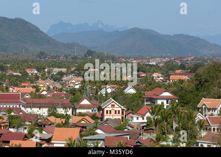 Top view of Luang Prabang, Laos - Stock Photo