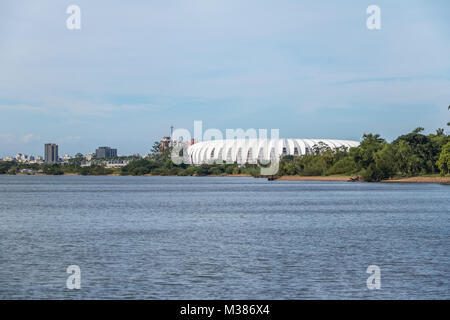 Beira Rio Stadium and Guaiba River - Porto Alegre, Rio Grande do Sul, Brazil - Stock Photo