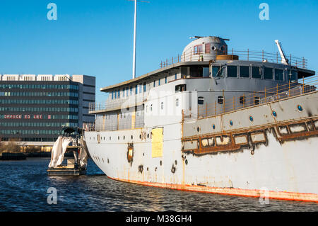 Work in progress converting lighthouse tender MV Fingal to a 5 star luxury floating hotel by Royal Yacht Britannia, - Stock Photo