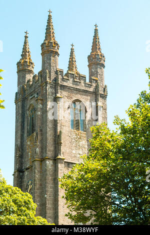 The church of St Pancras, Cathedral of the Moors, Widecombe-in-the-Moor, Dartmoor, Devon, England - Stock Photo