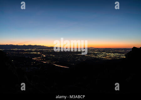 Before dawn view of the San Fernando Valley in Los Angeles California.  Shot from Rocky Peak Park near Simi Valley. - Stock Photo