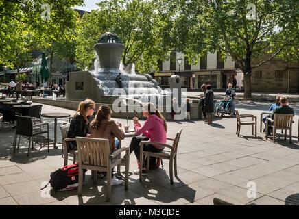 Sidewalk cafe, fountain at Kleppingstrasse, Dortmund, Ruhr area, North Rhine-Westphalia, Germany - Stock Photo